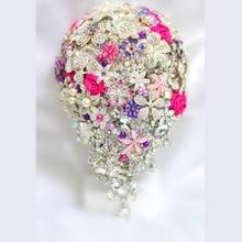 Bride Drop Brooch bouquet custom made Wedding Purple & pink Jewelry Bride 's bridal bouquets Teardrop holding flowers decoration