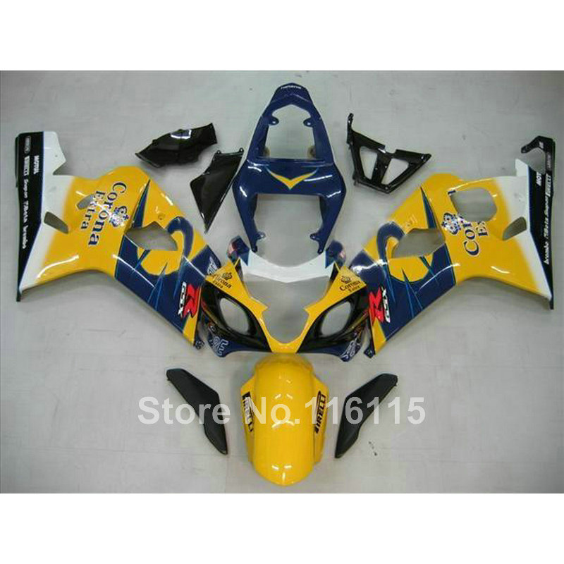 Top quality fairing kit for SUZUKI GSX-R600 750 K4 2004 2005 fairings GSXR600 GSXR750 04 05 yellow blue Corona   Q742
