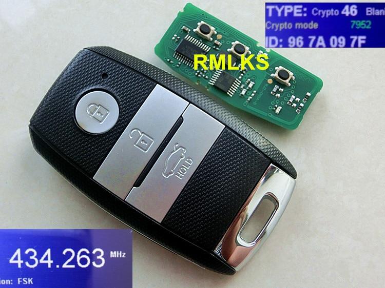 RMLKS Keyless entry Remote Key Fob 3 Button 433 MHZ 46 Chip TOY40 Blade Fit For K5 Sorento Sportage