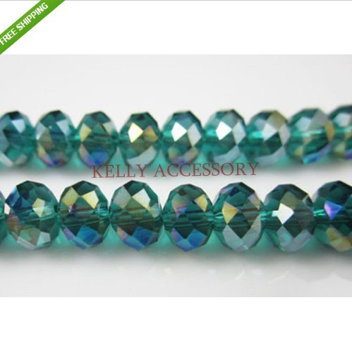 140pcs lot 8mm Green AB Crystal Glass Beads Charm Spacer Rondelle Beads For Jewelry  Making Craft Bracelet DIY Beads a4cb01a6849e