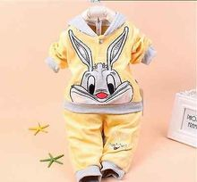 Bébé tout-petits filles garçons Set lapin imprimé costume Top pantalons tombent vêtements d'hiver