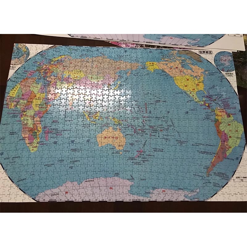 Adult 1000 pieces World Map wooden puzzle diy wooden learning puzzle for Children Educational Toy gift
