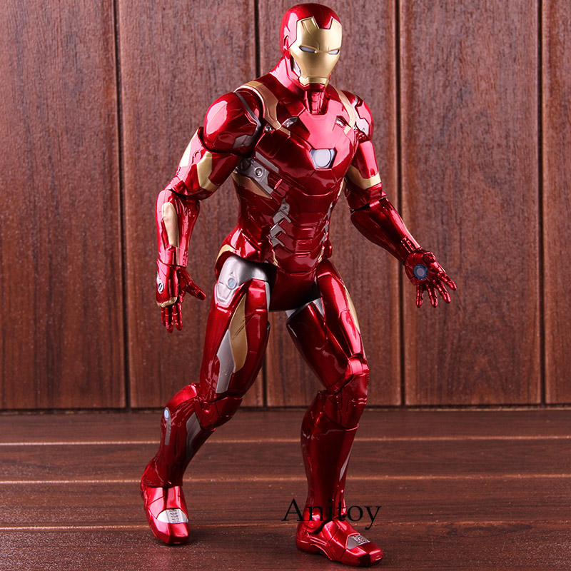 Marvel Captain American Civil War Iron Man Action Figure with Light PVC Collectible Model Toy 36cm