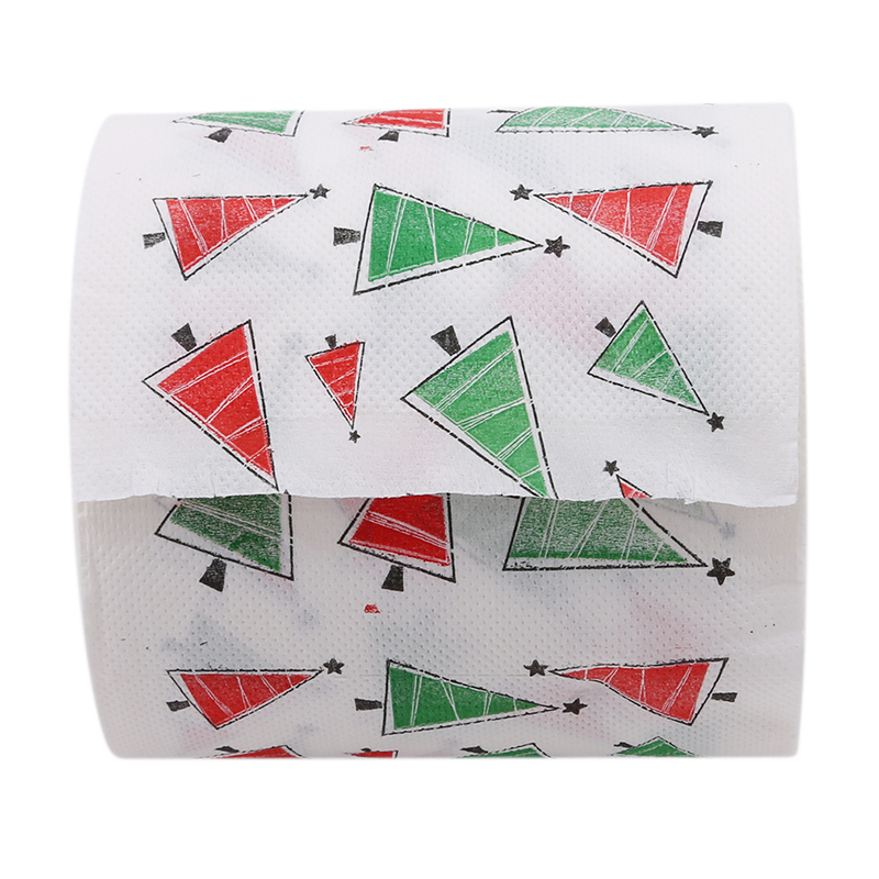 1Roll Tissue Xmas Decor Chirstmas Tree Patterns Toilet Paper Home Bath Living Room Toilet Paper Santa Merry Christmas Supplies