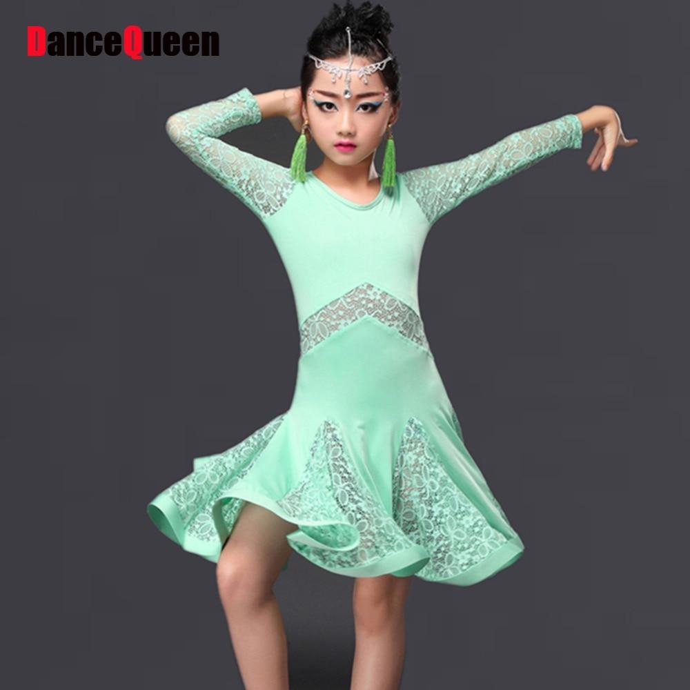 2016 Children Girl Kids Latin Dance Dresses Ice Silk Lace 3Colors Vestido Baile Latino Latin Girl