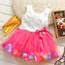 Летнее платье для девочек платье с лепестками роз для девочек милое цветное платье для маленьких девочек от 0 до 2 лет