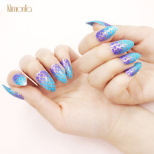 24pcs False Nail Tips Set Stiletto Designs Blue Fish Scale Fake Nails For UV Gel Acrylic Press On Nails Manicure Tools