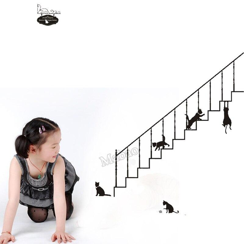 mabao zomer stijl muursticker cutains woonkamer decoratie trap kat ...