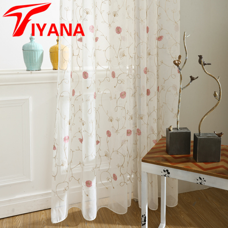 Fashion Stripe Rustic Curtain Yarn Bedroom Living Room: Tiyana Rustic White Bottom Color Red Flower Pattern Sheer