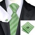 Moda Jacquard Laços Listra Verde De Seda Homens Tie Cufflink Hanky Set Festa de Casamento Laços Para Os Homens de Negócios C-1062