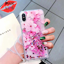 PINK LIPS Luxury Glitter Quicksand Peach blossom Case For iphone  XR X XS Max 6 6S 7 8 Plus Flower Liquid Case With Crystal rope liquid crystal case