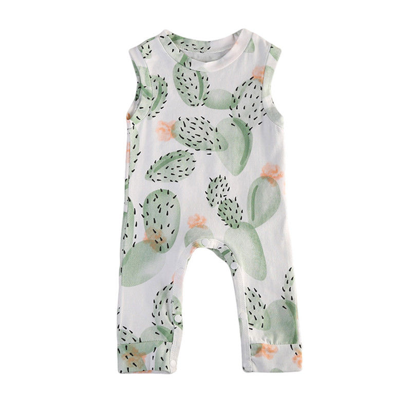 Cool Summer Newborn Baby Girl Floral Cotton Soft Sleeveless Cactus Romper Covered Buttons Jumpsuit Playsuit Clothes Fresh Outfit summer newborn infant baby girl romper sleeveles cotton floral romper jumpsuit outfit playsuit clothes
