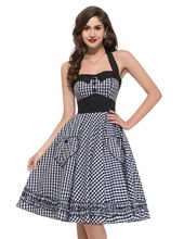 Audrey Hepburn Plus Size Halter womens Vintage Retro 50s Pin up Rockabilly Swing Plaid Dresses Elegant Ladies vestidos femininos