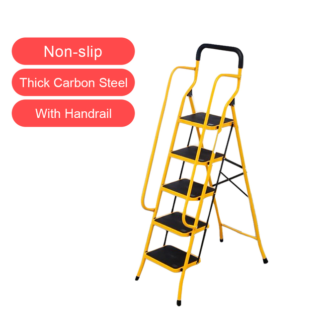 5 Step Folding Safety Ladder with Anti-slip Wide Platform and Side Handrails, Sturdy Carbon Steel Structure, 331lbs Capacity