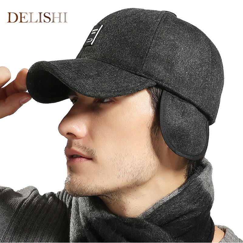 2e505c9fc95607 2017High quality cap Warm Winter spring Thickened Baseball Cap With Ears  Men'S Cotton Hat Snapback Hats Ear Flaps For Men Hat