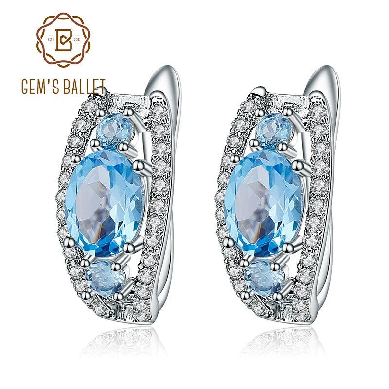 Klejnotu balet 3.79Ct owalne naturalne szwajcarski niebieski Topaz kolczyki na sztyftach z klejnotami 925 Sterling Silver grzywny biżuteria dla kobiet kolczyki w Kolczyki od Biżuteria i akcesoria na  Grupa 1