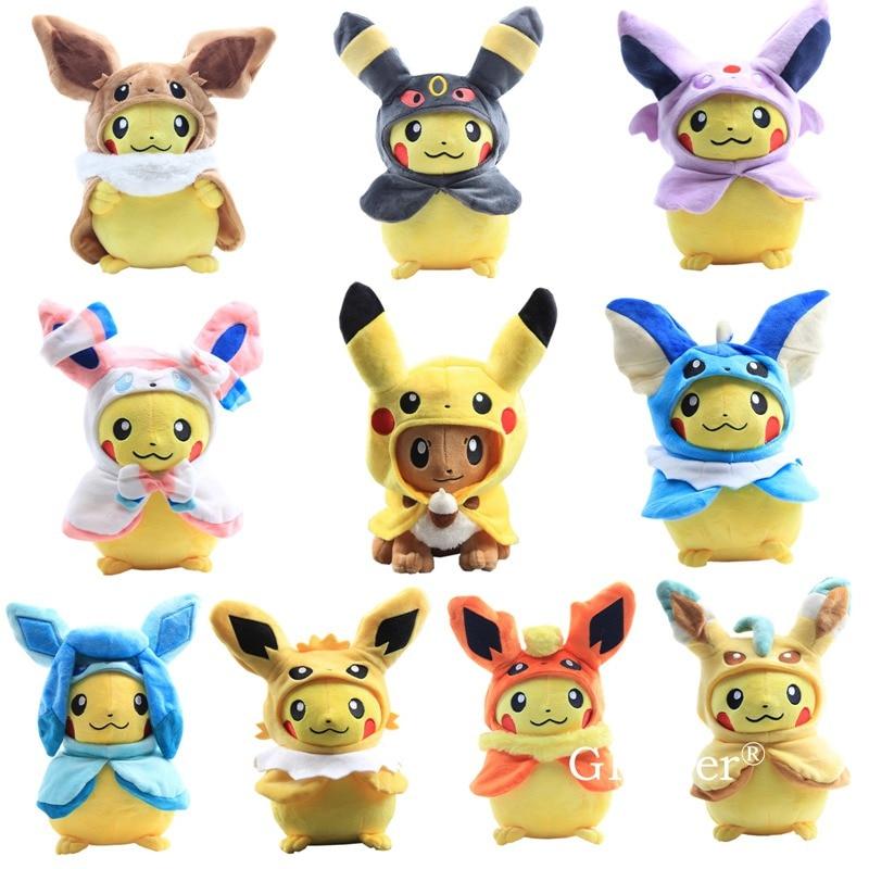 10 Styles Pikachu Cosplay Eevee Jolteon Pikachu In Vaporeon Cloak Pikachu Series Dolls Soft Stuffed Dolls Sylveon Toys 11