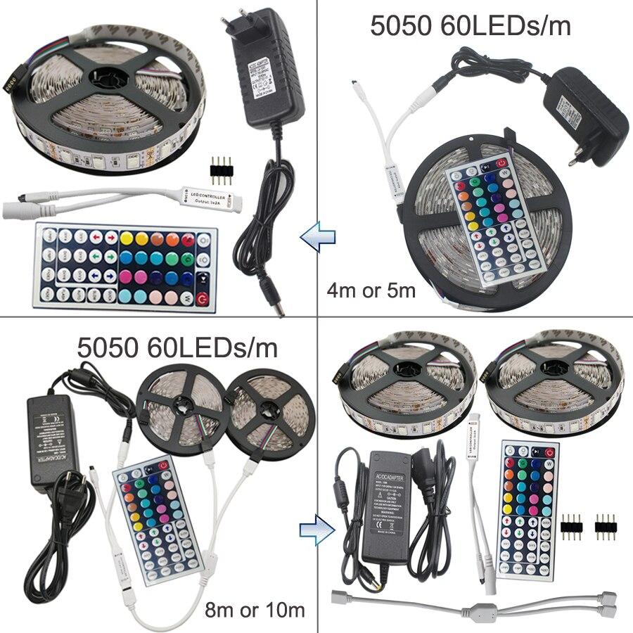 RGB Strip Led Strip Light Tape 4m 5m 10m 15m SMD 5050 Tiras Led DC 12V Power Adapter 44keys Controller Ribbon Lighting kit EU US