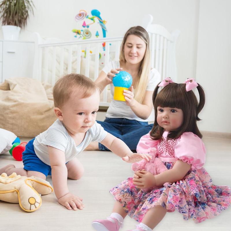 ไวนิล 60 ซมเด็กทารก Reborn เหมือนจริงตุ๊กตาเด็กน่ารัก Playmate ของเล่นเพื่อการศึกษาการเรียนการสอนอนุบาล Aid เด็กพร้อมตุ๊กตา-ใน ตุ๊กตา จาก ของเล่นและงานอดิเรก บน   3