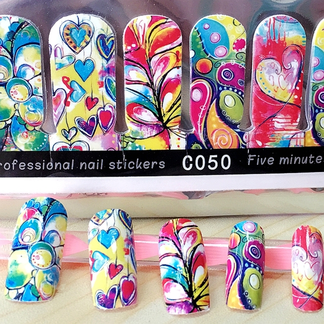 US $0.99 |Aliexpress.com : Buy 1 pack professional nail art decoration  stickers creative nail wraps full nail adhesive decals nails supplies tool  from ...