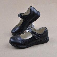 Children Girl Student Shoes School Black Leather Sh