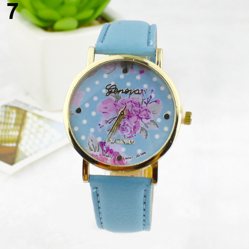 Popular Women's Simple Qualitied Wrist Watches with Rose Flower Dots Faux Leather Band Quartz Analog NO181 5V6X W2E8D