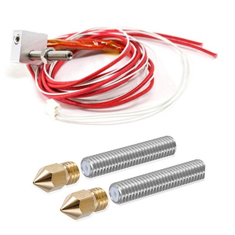 Anet a6 a8 e10 e12 MK8 hotend extruder I3 kits+2pcs 0.4mm nozzles+M6 30/40mm throat teflon tubes 12V 40W for DIY 3d printer partAnet a6 a8 e10 e12 MK8 hotend extruder I3 kits+2pcs 0.4mm nozzles+M6 30/40mm throat teflon tubes 12V 40W for DIY 3d printer part