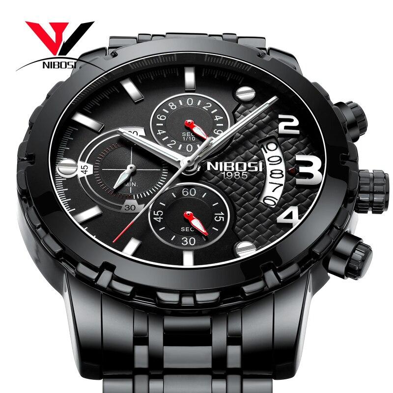 Relogios NIBOSI Luxury Brand/Sport/Military Watch Men Waterproof/Watches 2018 Chronograph Wrist Watches Stainless Steel Sport