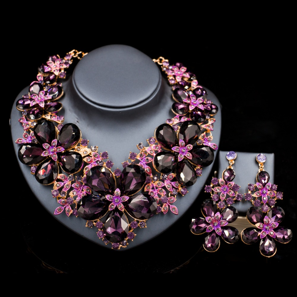LAN PALACE parure bijoux femme wedding decoration jewelry set big flowers necklace and earrings for party free shipping