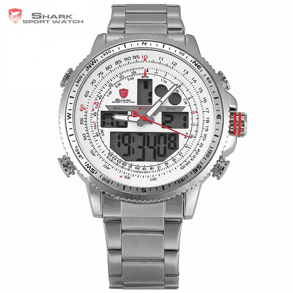 Winghead SHARK Sport Watch Brand LCD Digital White Dual Time Date Day Alarm Stopwatch Silver Steel