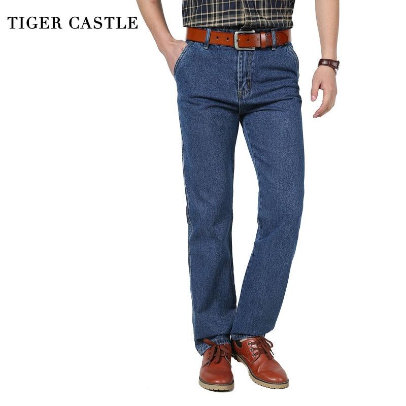 TIGER CASTLE Men's Casual Denim Pants 100% Cotton High Waist Male Straight Jeans Denim Overalls Men Classic Autumn Men Trousers