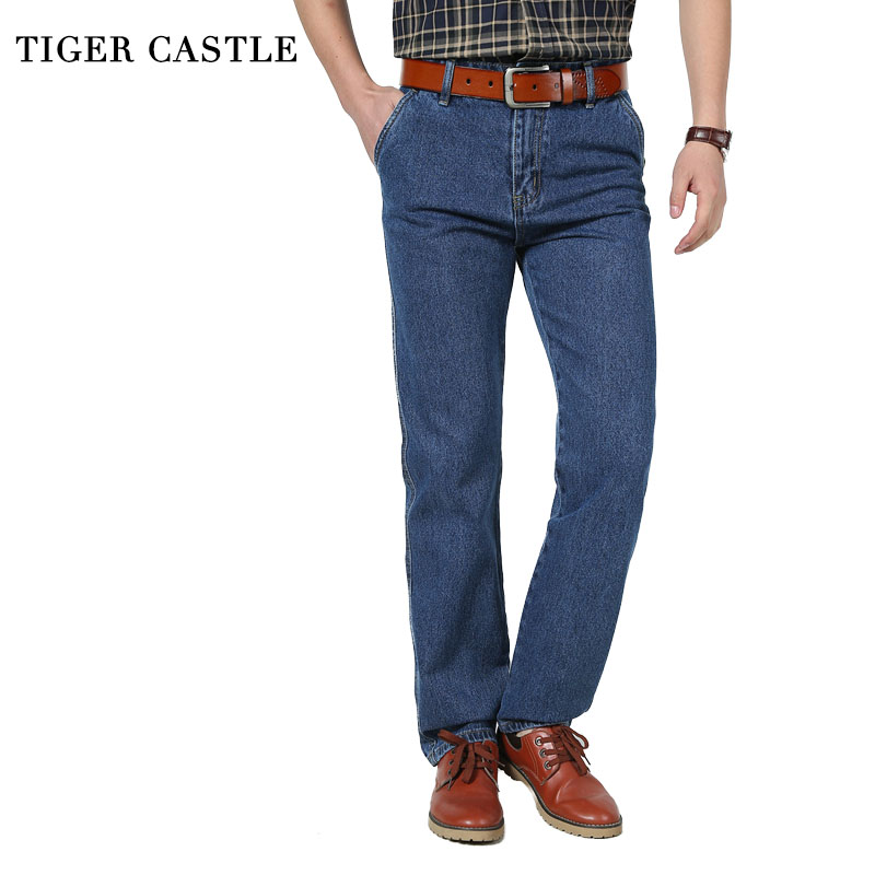 TIGER CASTLE Men's Casual Denim Pants 100% Cotton High Waist Male Straight Jeans