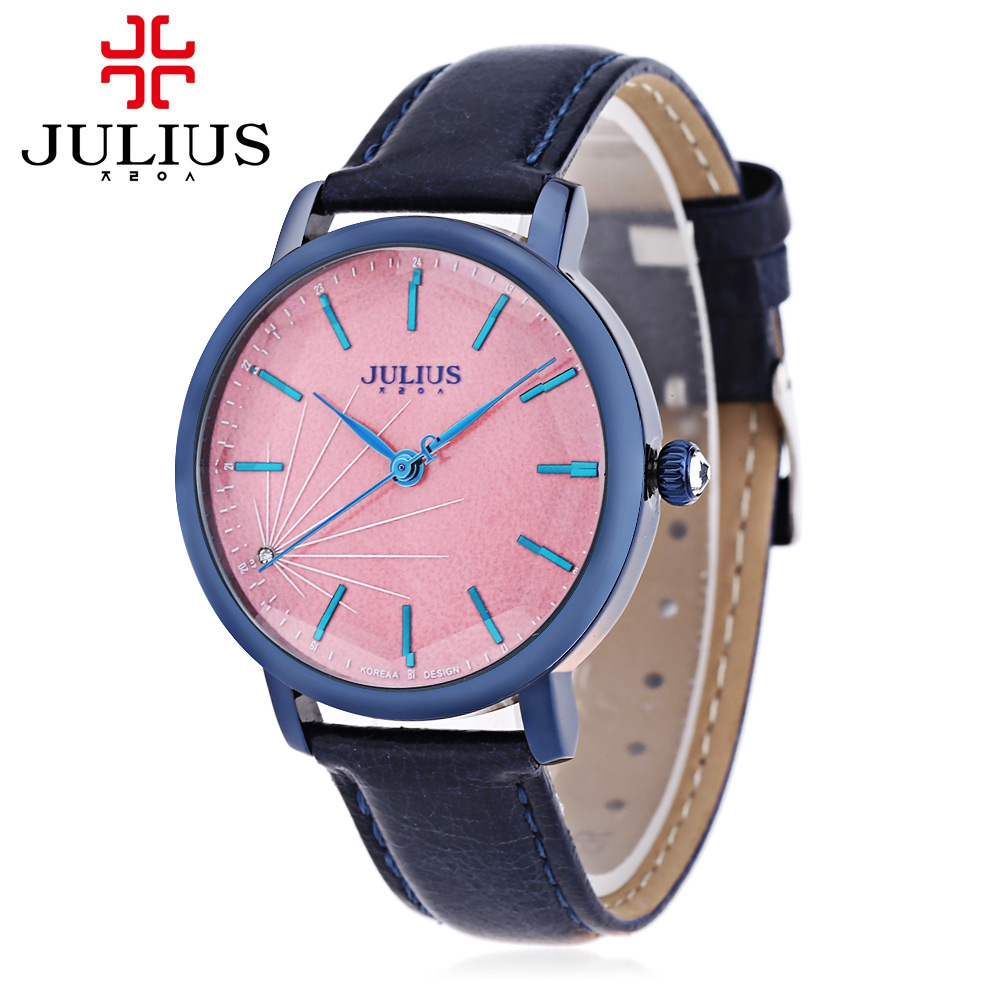 JULIUS Women Quartz Watch Artificial Diamond Dial Solid Mirror 3ATM Wristwatch fashion women watch inbuilt artificial diamond leather strap quartz wristwatch