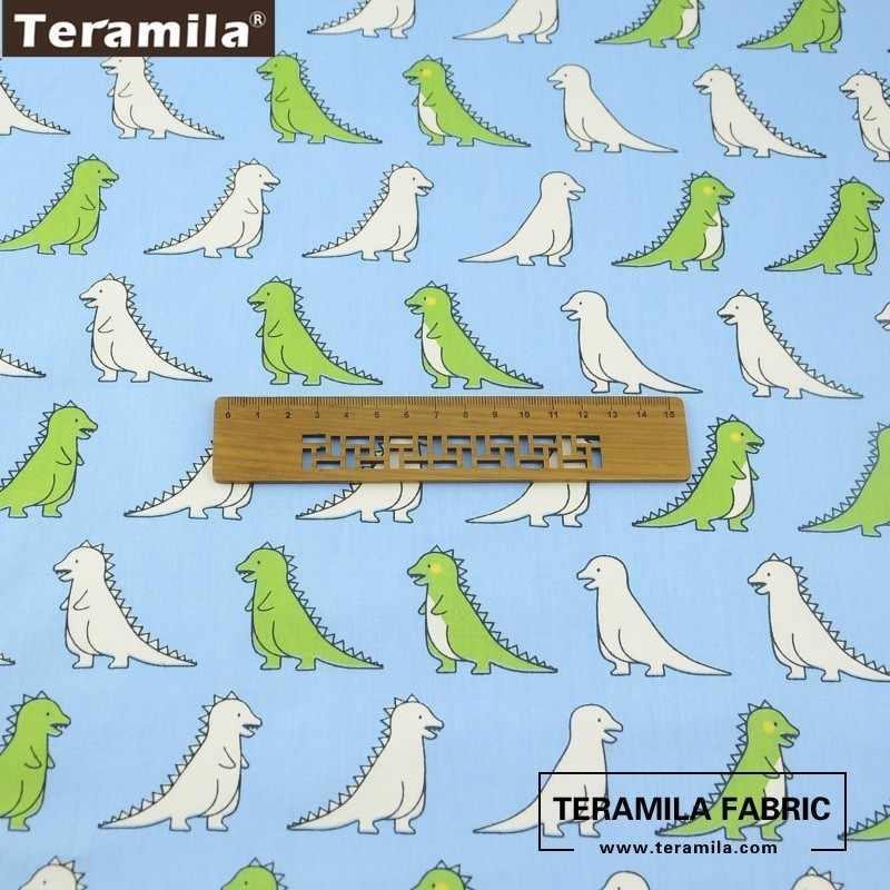 Teramila Tessuto 100% Cotone Blu Materiale Twill Letto Copriletto Modelli di Dinosauro Del Fumetto Bello Vestito Del Bambino Tessile Tecido Panno