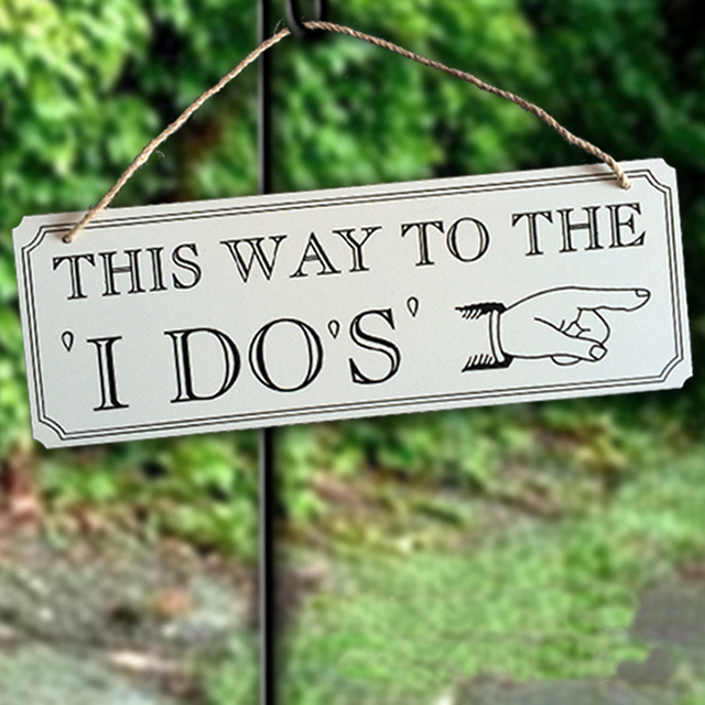 Creative Wooden Rectangular Sign With This Way To The I Do S Words Wedding Party Decoration Signs
