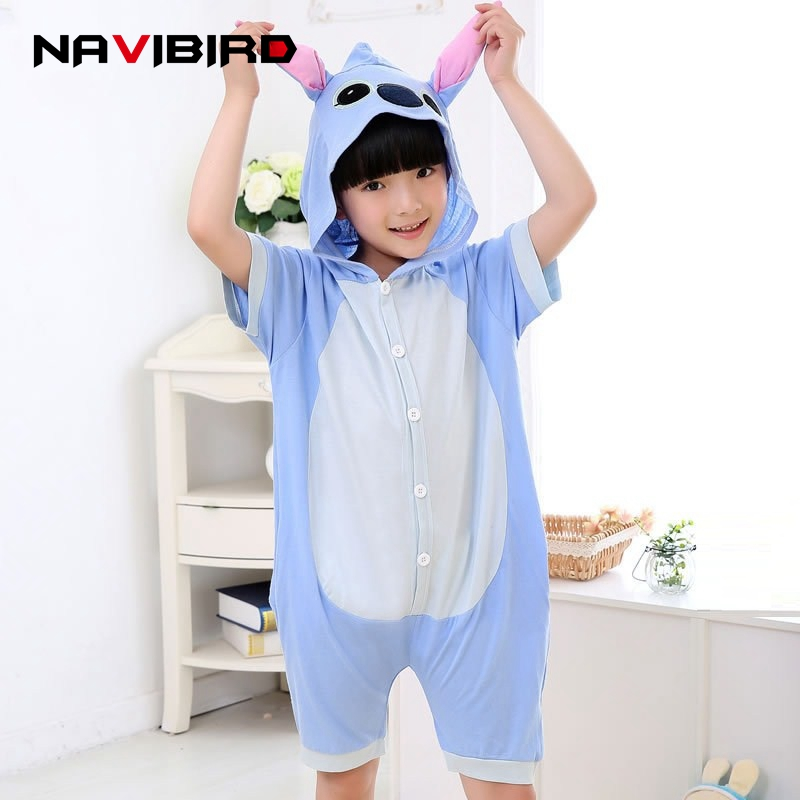 Children Anime Stitch Lilo Costume Kigurumi Onsie Pijama Sleepwear Summer Short Sleeved  ...