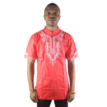 Africa Red Ethnic Element Embroidery Men`s Dashiki Tops Mandarin Collar Summer Folk Shirts
