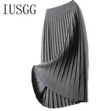 Pleated Midi Skirt Autumn Winter Women Fashion Temperament Elastic Knitted Slim Knee-length Stretch Cotton Wool High Waist
