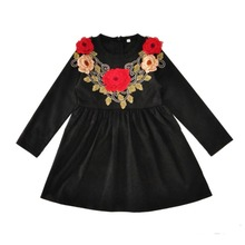 Kids Princess Dress Black Long Sleeve A Line Embroidered Flowers Girls