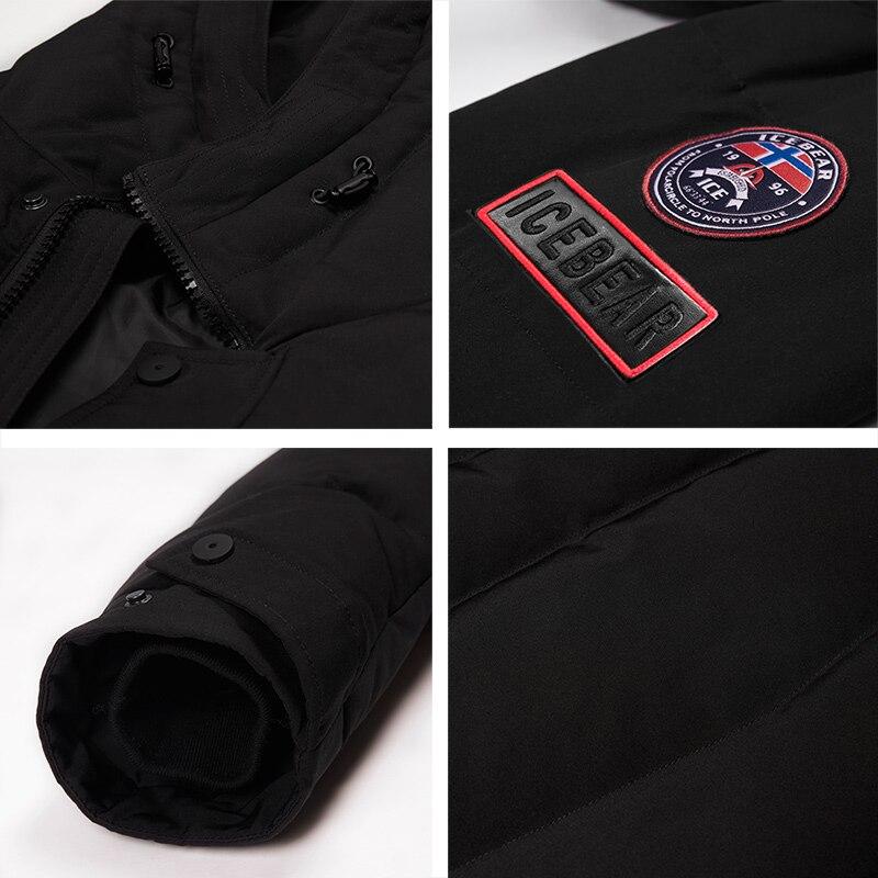 ICEbear 2019 offre spéciale hiver chaud coupe-vent capuche hommes veste chaud hommes Parkas haute qualité Parka mode décontracté manteau MWD18856D - 5