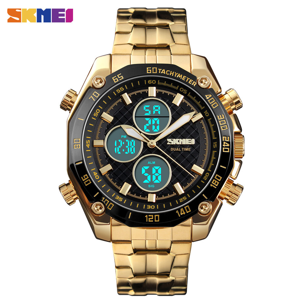 <font><b>SKMEI</b></font> <font><b>1302</b></font> Luxury Golden Men Dual Time Digital Quartz Watch Waterproof Male Wristwatches Alarm Black Light Relogio Masculino image