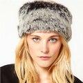 Новинка серый цвет искусственного меха зимняя шапка для женщин шапочка Hat шапки зимой согреться полые с хвостик волосы Gorros CP087