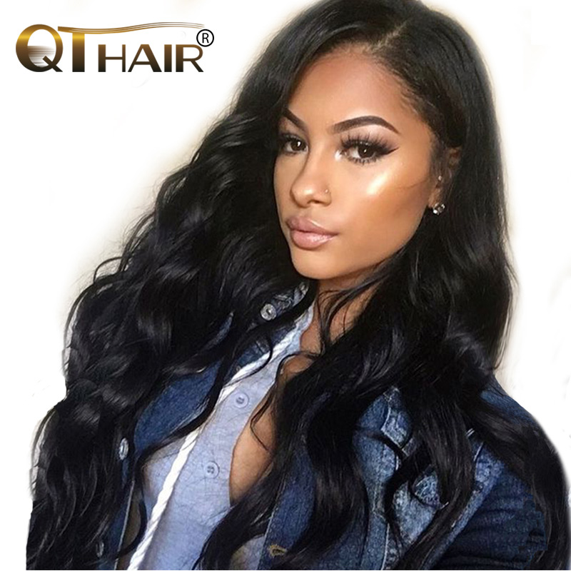 QT hair Brazilian Body Wave Hair Bundles Can Buy 3/4 Bundles or More Non Remy 100% Human Hair Weave Natural Black Color