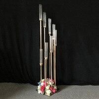 2 шт цветы вазы, подсвечники дорога приведет Таблица Центральным Золотой металлическая подставка столб подсвечник для свадьбы канделябры