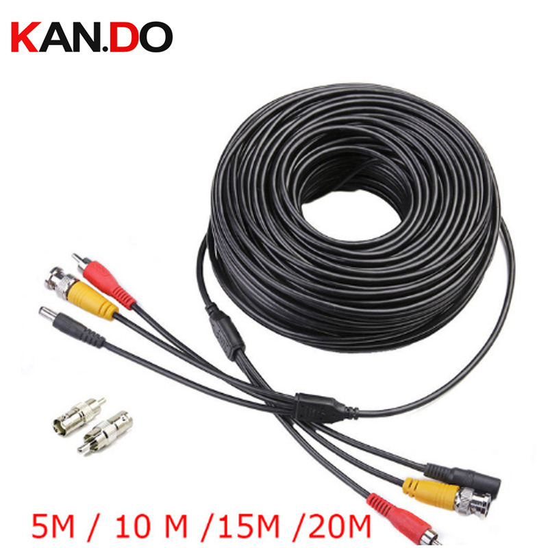 5M / 10M / 15M / 20M Security CCTV Cable BNC RCA CCTV Video Audio AV Power Cable For Surveillance Camera Security Transmission