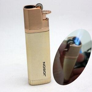 Image 1 - Encendedor Turbo de Triple antorcha resistente al viento para hombre, mechero de Metal con chorro, muela de 1300 C, encendedor de butano