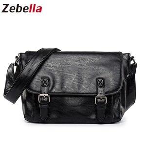 Image 5 - Zebella Đơn Giản Thương Hiệu Nổi Tiếng Nam Công Sở Cặp Túi Da PU Sang Trọng Đen Túi Laptop Người Đeo Vai Túi Đeo Chéo Bolsa Malet