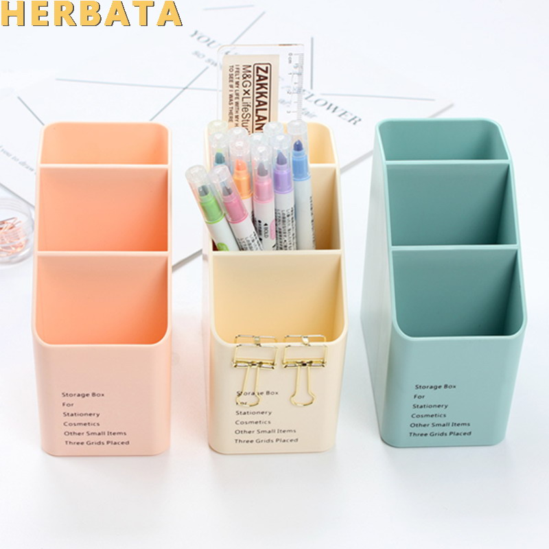 1PC Multi-function Plastic PP Desktop Storage Box Case 4 Grid Sub-grid Make Up Cosmetic Holder Desk Pen Pencil Organizer CL-2515