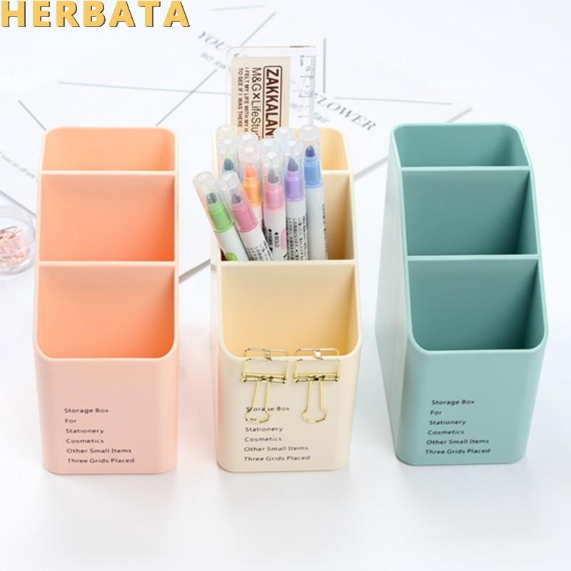 1PC Multi-function Plastic PP Desktop Storage Box Case 4 Grid Sub-grid Make Up Cosmetic Holder Desk Pen Pencil Organizer CL-2515