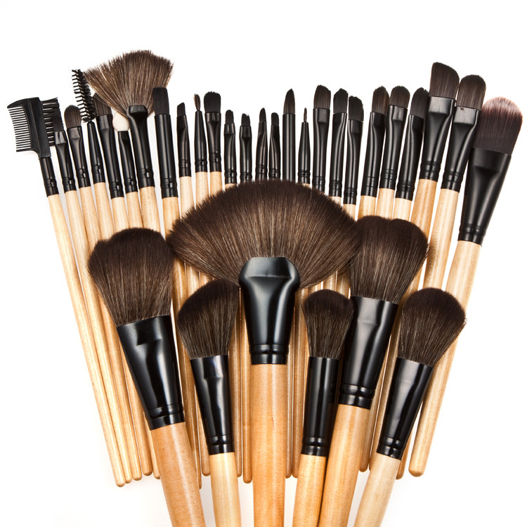 32Pcs/Set Makeup Brushes Set Pincel Maquiagem Professional Make Up Maquillaje Goat Hair Kit Cosmetic Set Brush+ Leather Bag msq 15pcs professional makeup brushes set foundation fiber goat hair make up brush kit with pu leather case makeup beauty tool